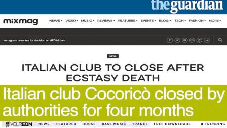 La triste notizia del Cocoricò sui maggiori siti internazionali